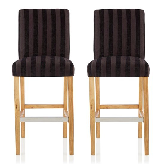 Alden Bar Stools In Aubergine Fabric And Oak Legs In A Pair