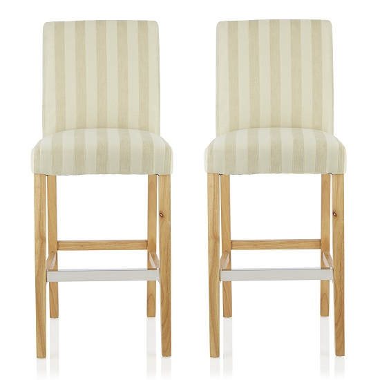 Alden Bar Stools In Cream Fabric And Oak Legs In A Pair
