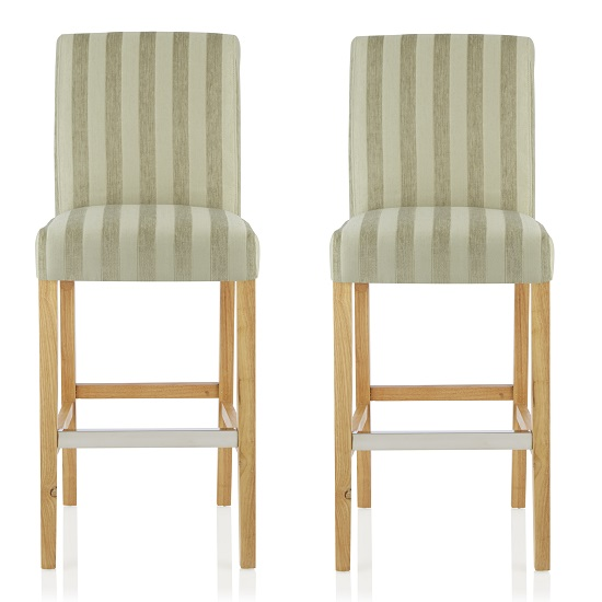 Alden Bar Stools In Sage Fabric And Oak Legs In A Pair