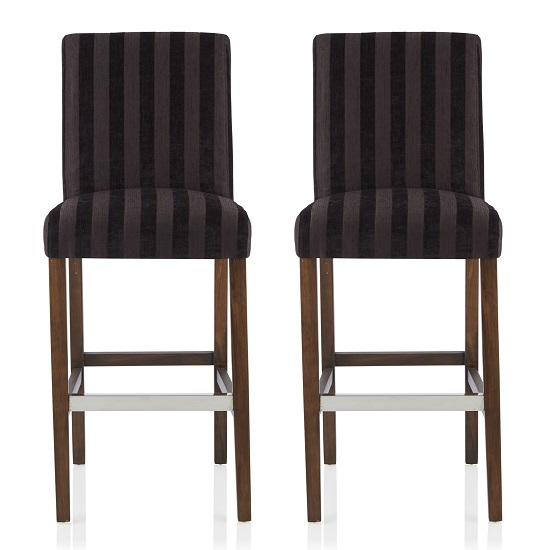 Alden Bar Stools In Aubergine Fabric And Walnut Legs In A Pair