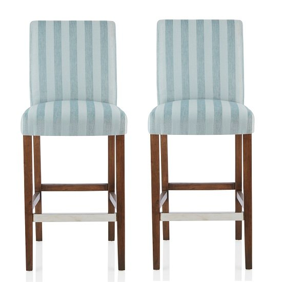 Alden Bar Stools In Duck Egg Fabric And Walnut Legs In A Pair