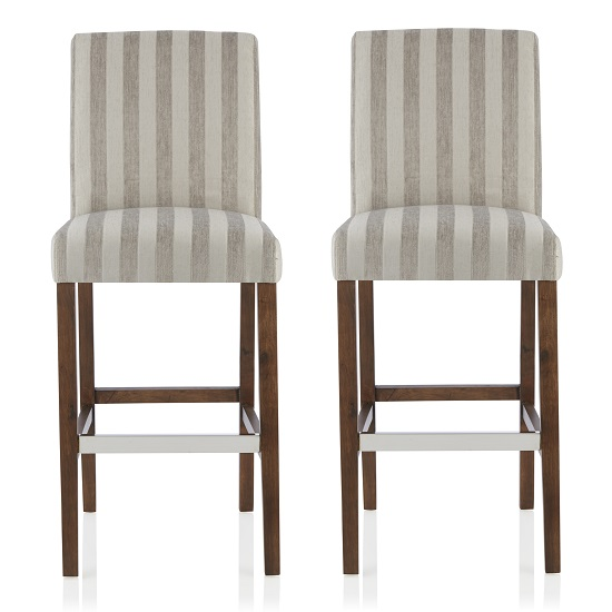 Alden Bar Stools In Silver Fabric And Walnut Legs In A Pair
