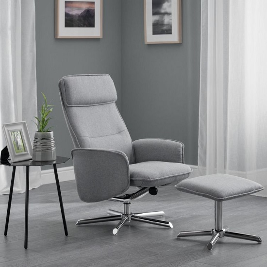 Alden Fabric Recliner Chair With Foot Stool In Grey Linen