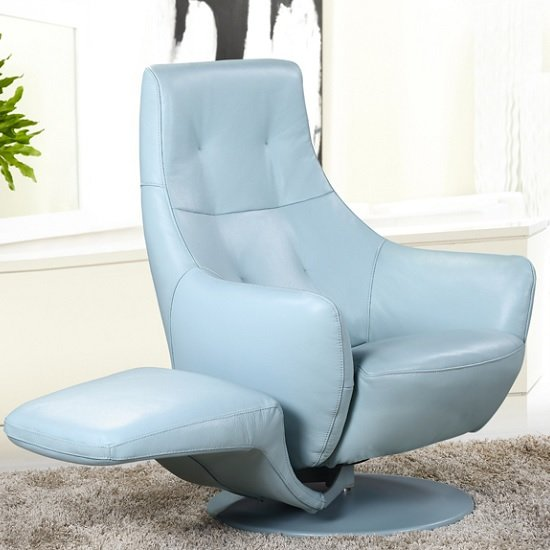 Alden Recliner Chair In Blue Leather With Rotatable Foot Rest_1 & Alden Recliner Chair In Blue Leather With Rotatable Foot islam-shia.org