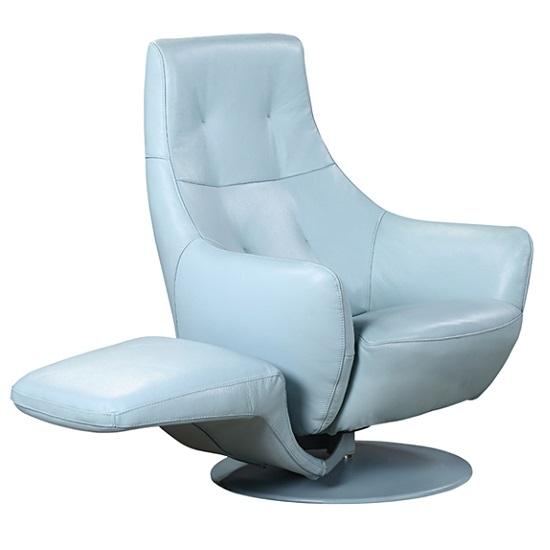 Alden Recliner Chair In Blue Leather With Rotatable Foot
