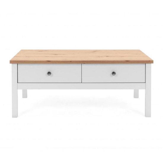 Alder Coffee Table In Artisan Oak And White With 2 Drawers