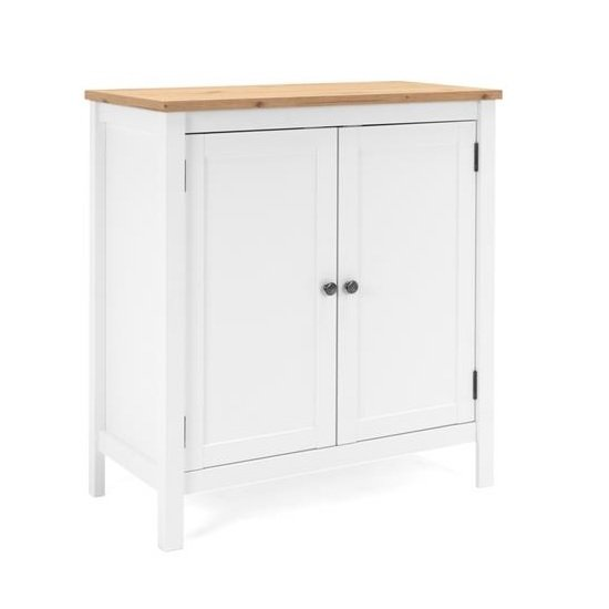 Alder Wooden Compact Sideboard In Artisan Oak And White