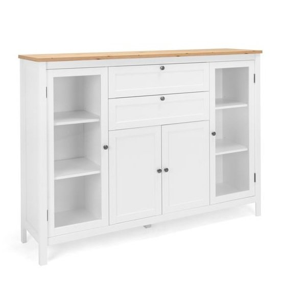 View Alder wooden highboard in artisan oak and white
