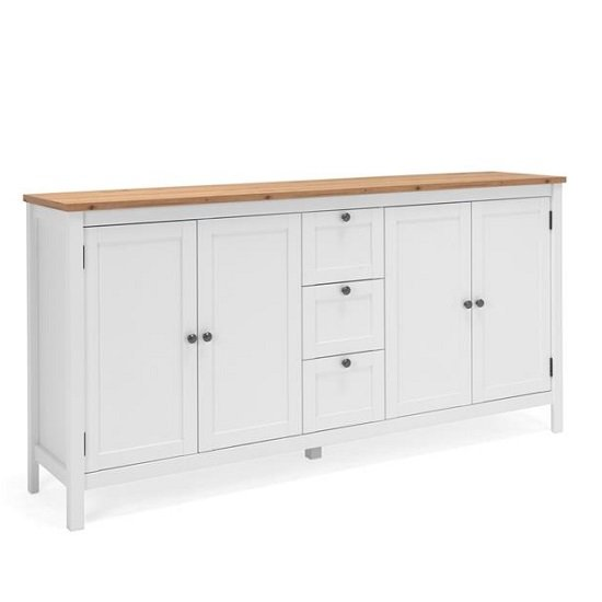 Alder Wooden Sideboard In Artisan Oak And White With 4 Doors