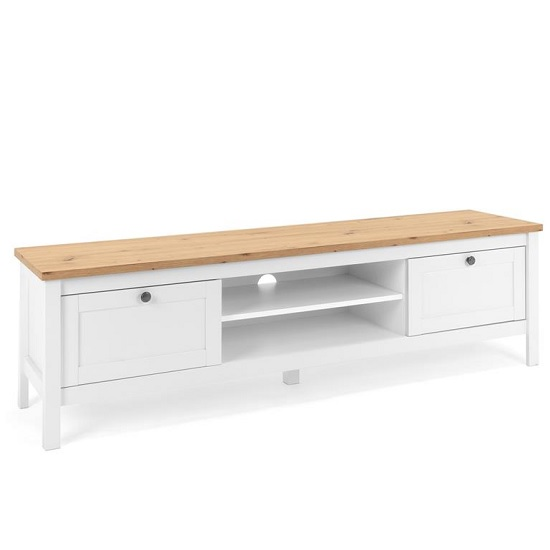 Alder Wooden TV Stand In Artisan Oak And White With 2 Drawers_1