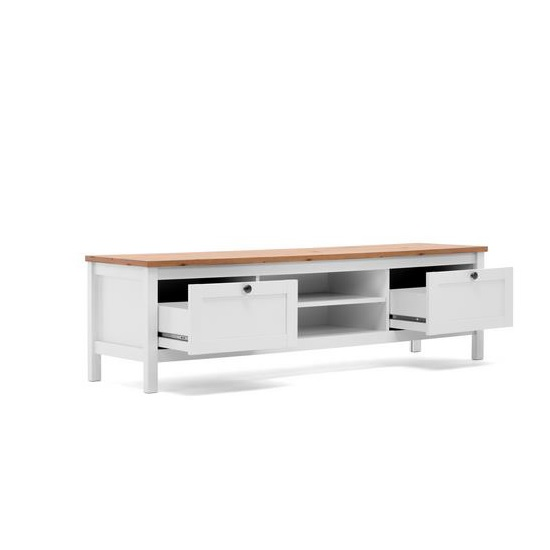 Alder Wooden TV Stand In Artisan Oak And White With 2 Drawers_3
