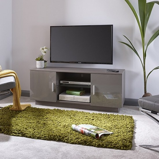 Alderley TV Stand In Grey With High Gloss Fronts With 2 Doors