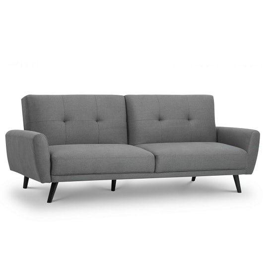 Aldonia Fabric Sofa Bed In Mid Grey Linen With Wooden Legs
