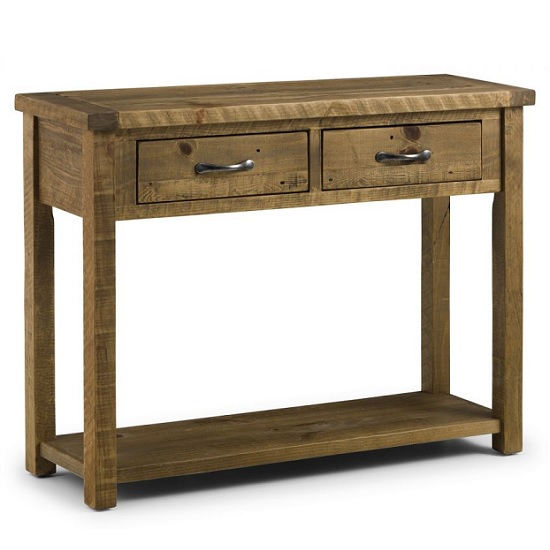 Alecia Wooden Console Table In Rough Sawn Pine With 2 Drawers_1