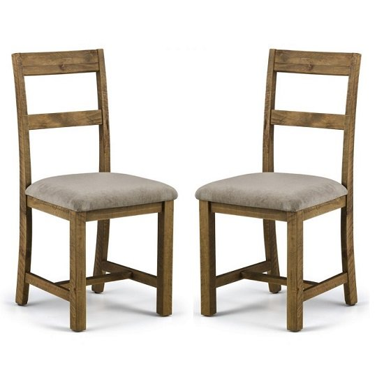 Alecia Wooden Dining Chairs In Rough Sawn Pine In A Pair