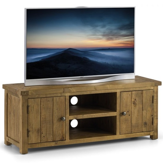 Alecia Wooden TV Stand In Rough Sawn Pine With 2 Doors