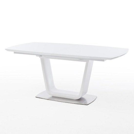 Alecta Glass Extendable Dining Table In White With Steel Base