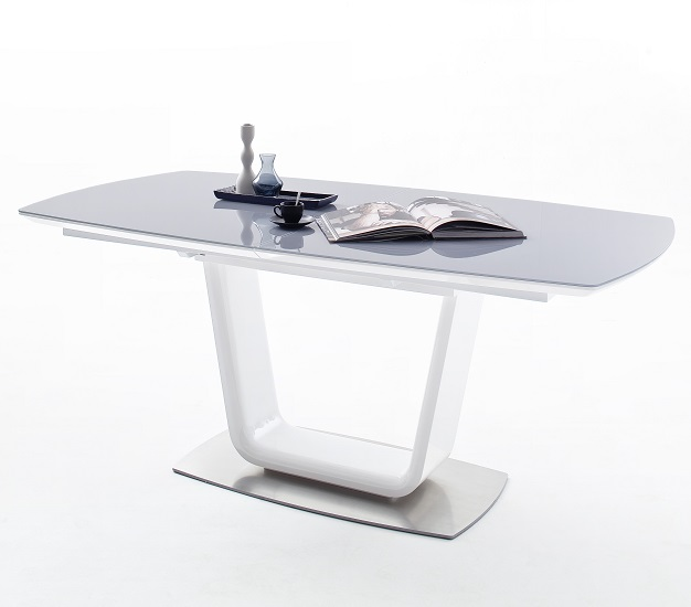 Alecta Grey Glass Extendable Dining Table In High Gloss White
