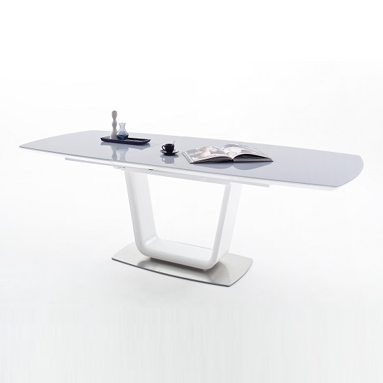 Alecta Grey Glass Extendable Dining Table In High Gloss White_2