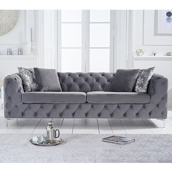 Alegria Velvet 3 Seater Sofa In Grey