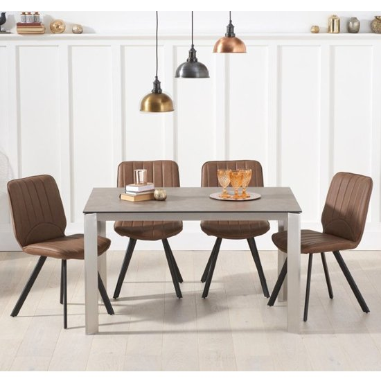 Alejeno Italian Ceramic Dining Table In Brown_4
