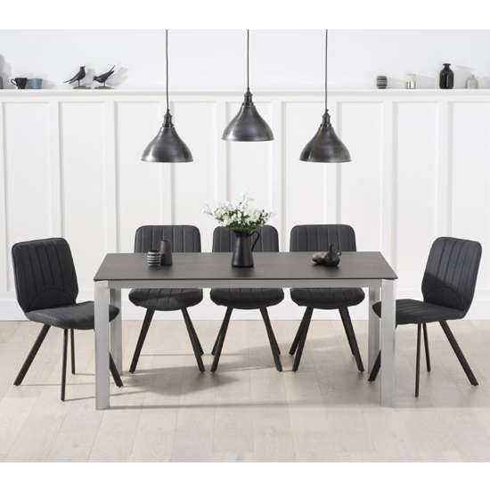 Alejeno Mink Ceramic Large Dining Table 6 Grey Damanti Chairs