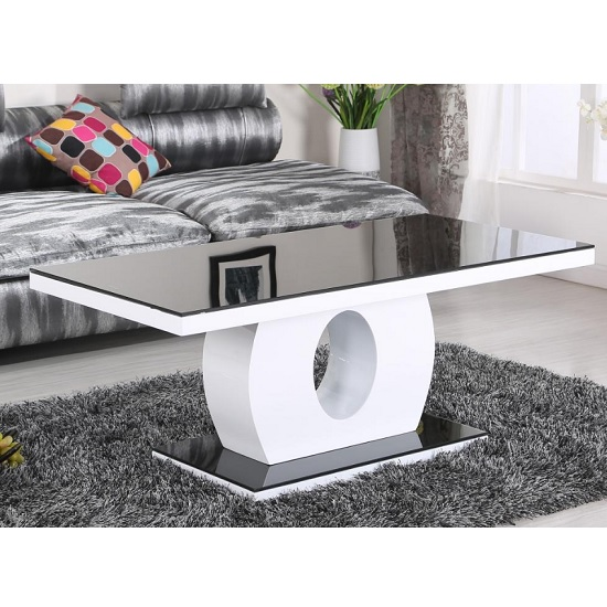 Aleman Glass Coffee Table Rectangular In Black And High Gloss