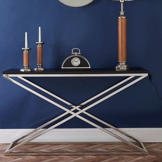 Alena Console Table In Black With Stainless Steel Legs