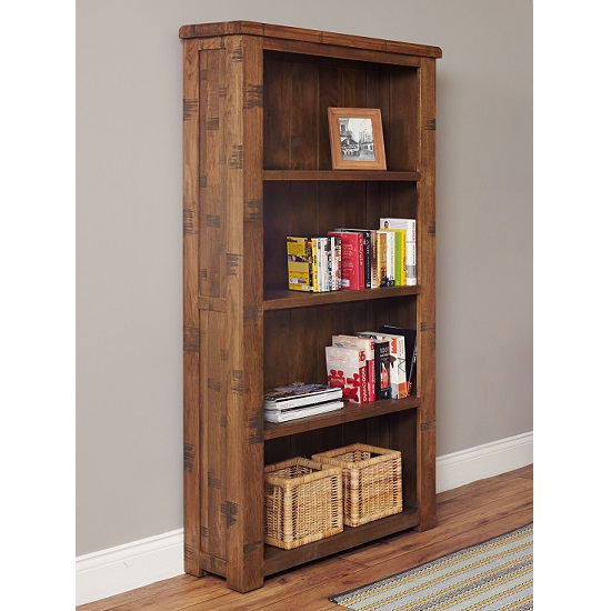 Alena Large Wooden Bookcase In Rough Sawn Oak
