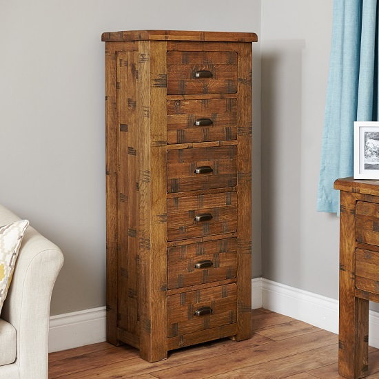 Alena Wooden Chest of Drawers In Rough Sawn Oak With 6 Drawers