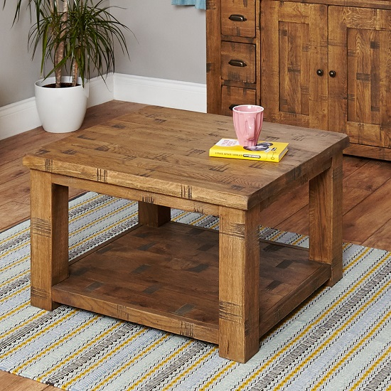 Alena Rectangular Coffee Table In Rough Sawn Oak With Undershelf
