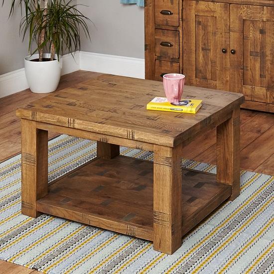 Alena Rectangular Coffee Table In Rough Sawn Oak With Undershelf