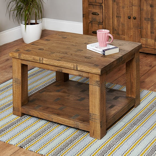 Alena Rectangular Coffee Table In Rough Sawn Oak With