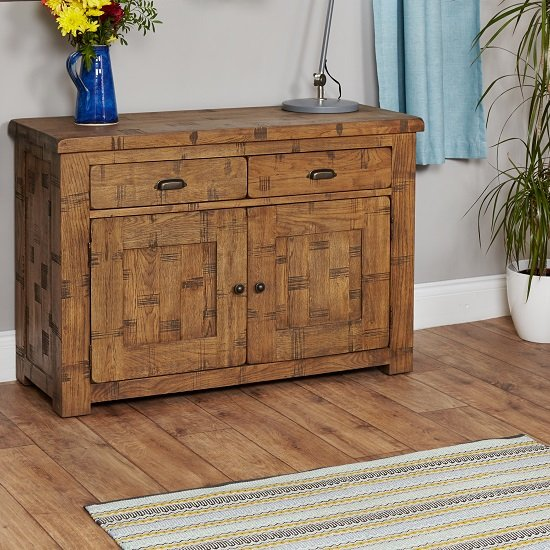 Alena Sideboard In Rough Sawn Oak With 2 Doors and 2 Drawers