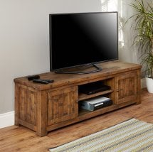 Alena Wooden Large TV Stand In Rough Sawn Oak With 2 Doors