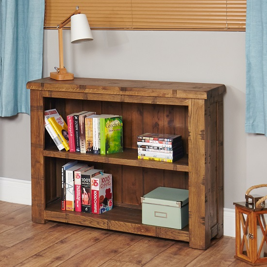 Alena Low Wooden Bookcase In Rough Sawn Oak With 2 Shelves