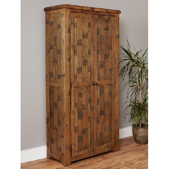Alena Shoe Cupboard In Rough Sawn Oak With 2 Doors