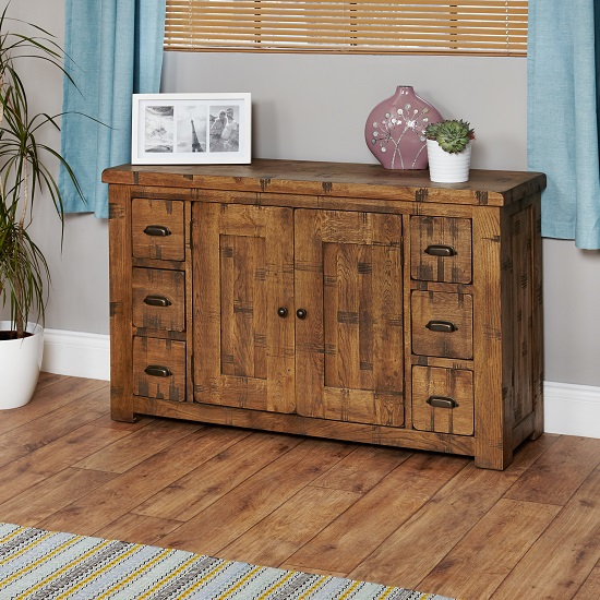 Alena Wooden Sideboard In Rough Sawn Oak With 2 Doors 6 Drawers