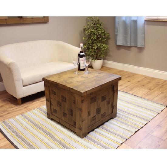 Alena Trunk Coffee Table Square In Rough Sawn Oak