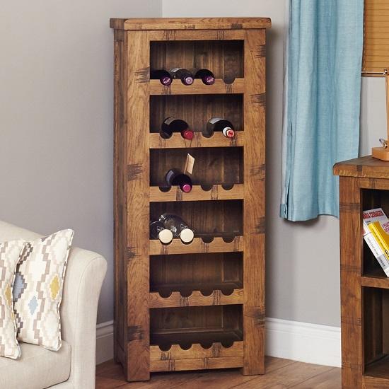 Alena Wooden Wine Rack In Rough Sawn Oak