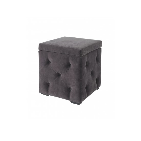 Alencia Storage Box In Charcoal Velvet Style Fabric