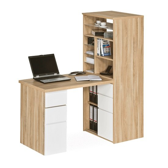 Alene Wooden Computer Desk In Natural Oak and White Gloss