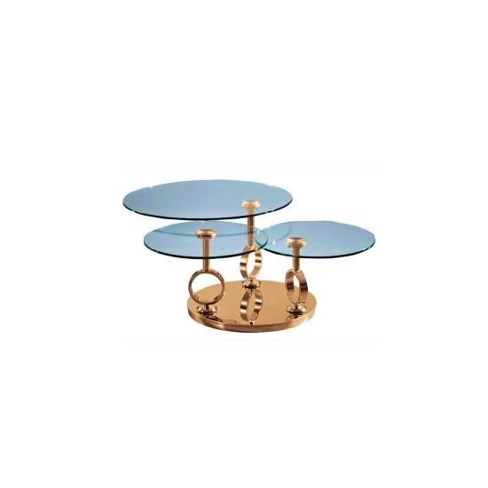 Aleria Rotating Glass Coffee Table In Clear And Rosegold Base