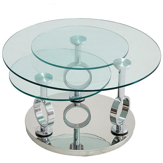 Aleria Rotating Glass Coffee Table In Clear With Silver Base