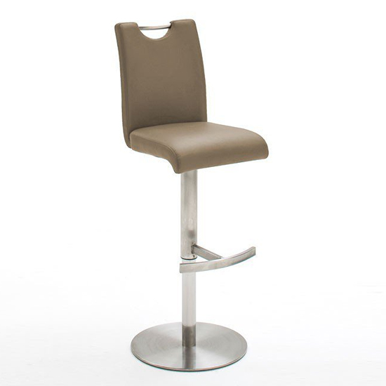Alesi Gas Lift Bar Stool In Cappuccino With Stainless Steel Base_1