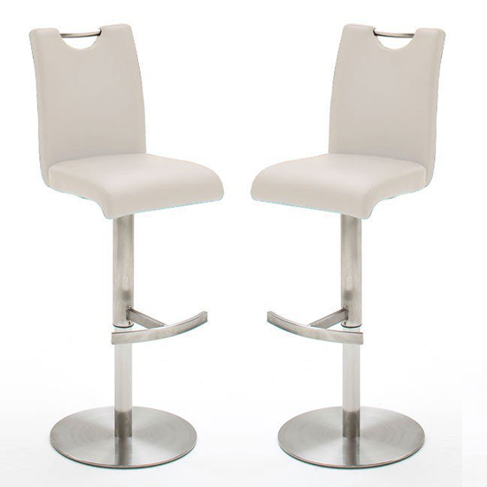Alesi White GasLift Bar Stool With Stainless Steel Base In Pair