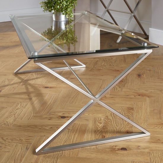 Alessa Glass Coffee Table In Clear With Satin Plated Base_2
