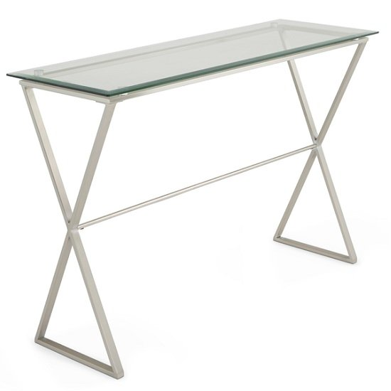Alessa Glass Console Table In Clear With Satin Plated Base_1