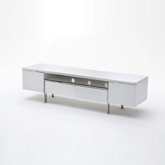 Alessa TV Stand In White High Gloss With 2 Doors and 2 Drawers_3
