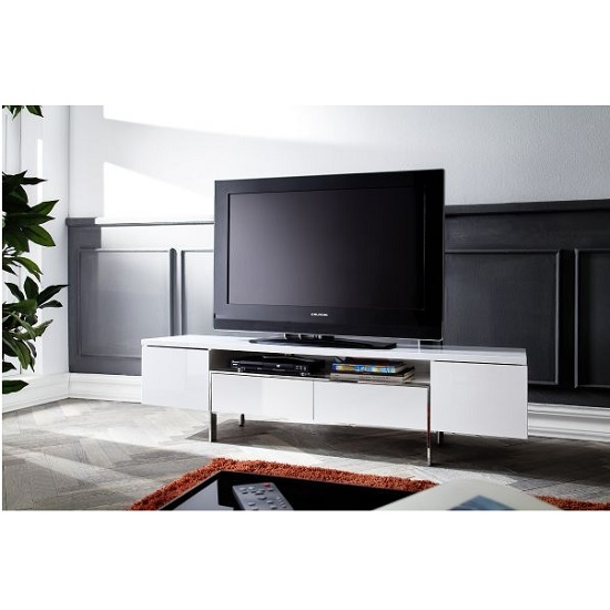 Alessa TV Stand In White High Gloss With 2 Doors and 2 Drawers_5